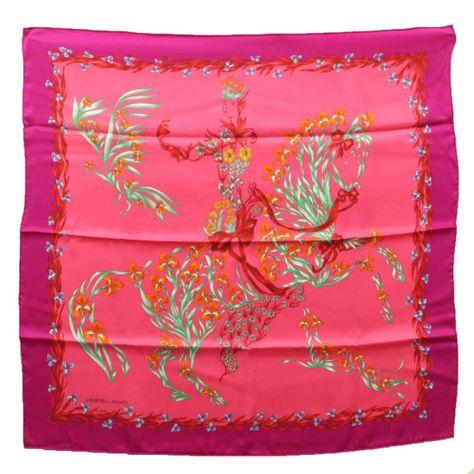 Hermes Scarf Cheval Fleuri by Henri d Origny Silk 70 cm Pink Carre ... 65e7fefd13d