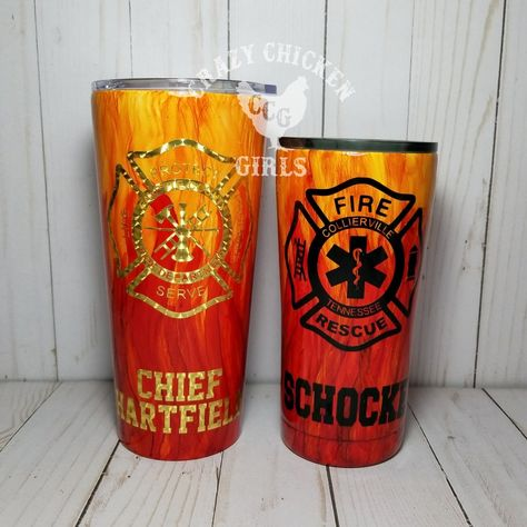 10 Personalized Hydrographic Firefighter Fireman Stainless