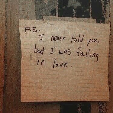 P.S. I never told you, but I was falling in love. 💔