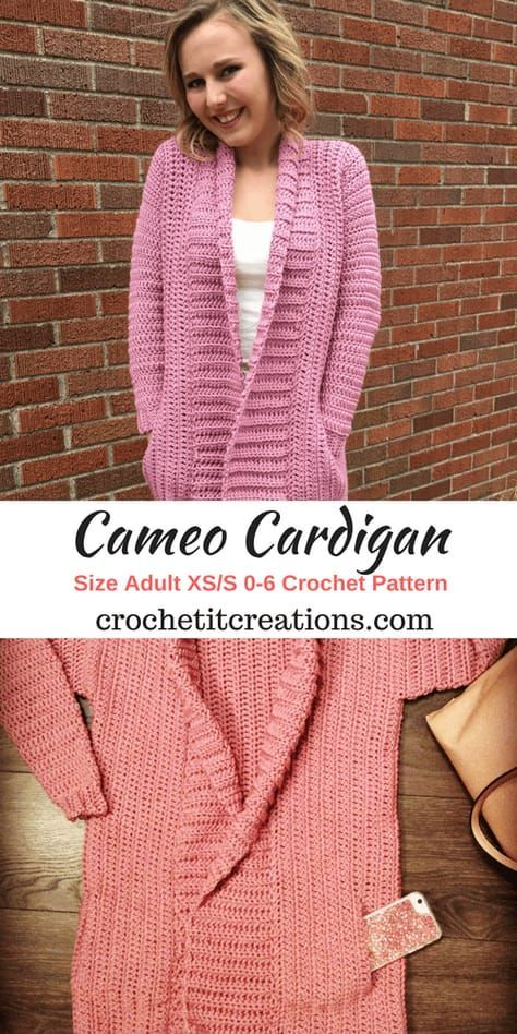 Cameo Cardigan XS/S Crochet Pattern by Crochet It Creations links to instructions for smaller and larger sizes the pattern is ~free~ and there are pics with hints and helps. NICE