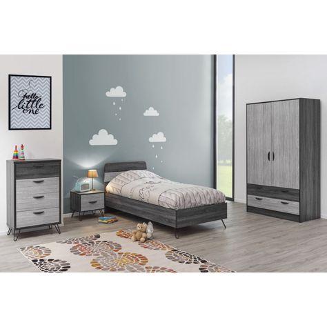 Commode moderne chêne gris/gris cendré Koaline | Matelpro