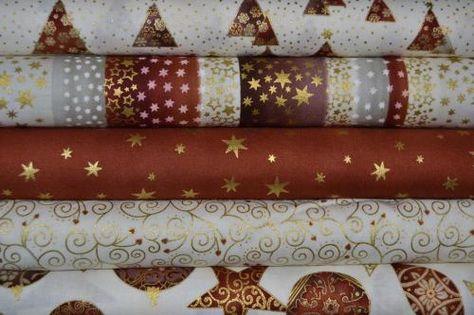 Tissu Patchwork Noël Pas Cher – Lot de 5 coupons – Collection Brilliant Christmas