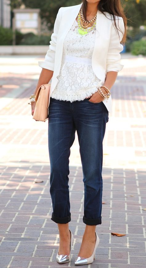 {White blazer + lace top + boyfriend jeans}