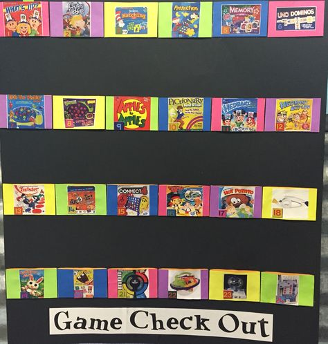 Our board game check out system. Just put their names on a Popsicle stick and BAM!! Good to go