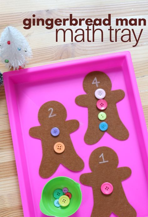 Gingerbread Man Math Activity – No Time For Flash Cards Gingerbread man themed math activity for prek and kindergarten math centers.