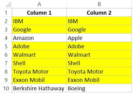 How To Compare Two Columns In Excel For Matches Differences In 2020 Column Excel Workbook