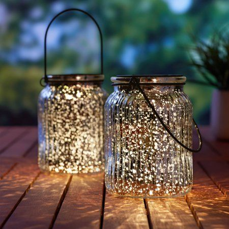 Better Homes Gardens 5 79 3 Lumen Solar Decorative Glass Jar Lantern Silver Walmart Com Solar Light Crafts Outdoor Solar Lights Outdoor Table Lamps