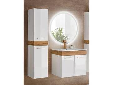 Badmobel Set Mit Keramik Waschtisch Led Spiegel Und Hochschrank