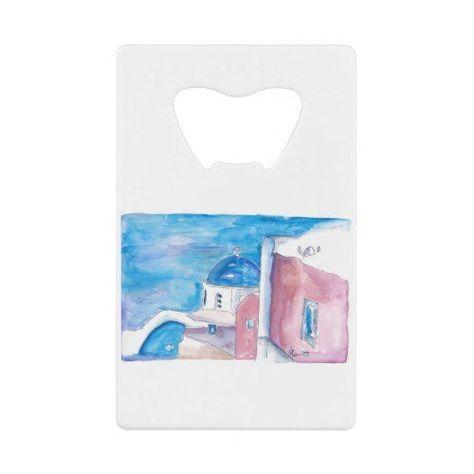 Santorini Greece All Blue Credit Card Bottle Opener