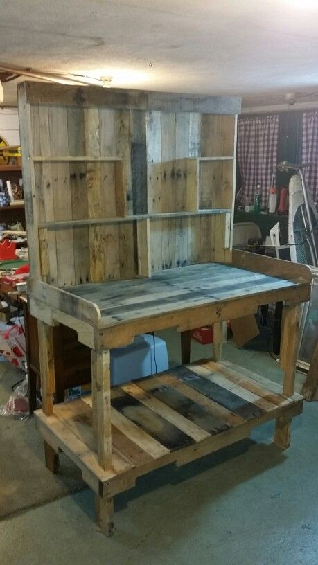 We Made This Bench From Two Pallets. We Sanded The Wood, Built In A Small  Shelf And Added A Couple Of Hooks We Removed From An Old Coat Rack.   Garu2026