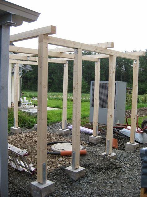 Das Projekt Carport Besteht Nicht Nur Aus Dem Carport Selbst Sondern Ein Schuppen Wird Direkt Daran Angeschlossen In Der Woch Pergola Outdoor Pergola Backyard