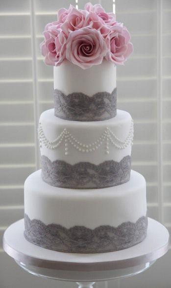 Beautiful Soft Pink And Gray Cake Creative Design Pinterest Wedding Cakes