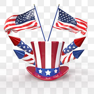 July 4th Independence Day Celebration With Hat Fireworks And American Flags 3d Illustration Patriot Stars Balloon Png Transparent Clipart Image And Psd File Independence Day Independence Day Fireworks 3d Illustration