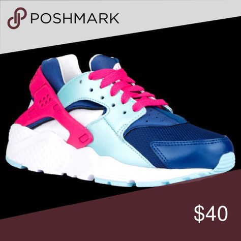 new styles d0d67 1d5f6 Nike Huarache Run - Women s Pink, blue, and white huaraches. Women s sizing.