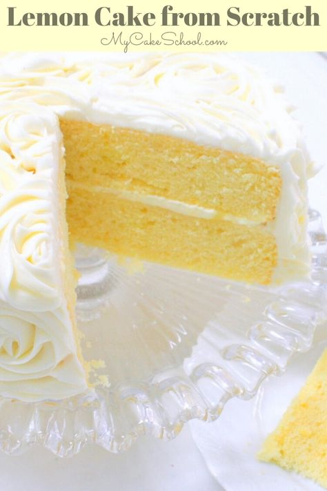 Lemon Cake {A Scratch Recipe} . This moist scratch Lemon Cake Recipe is a heavenly combination of lemon cake, lemon curd filling, and lemon cream cheese Lemon Desserts, Lemon Recipes, Just Desserts, Baking Recipes, Delicious Desserts, Dessert Recipes, Lemon Cakes, Best Lemon Cake Recipe, Homemade Lemon Cake