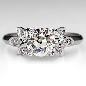 Old European Cut Diamond Antique Engagement Ring Platinum 1930's