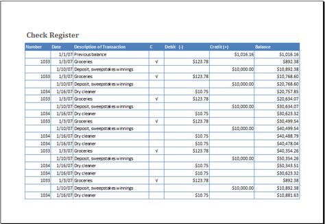 checkbook register template at    wwwxltemplatesorg - check register in pdf