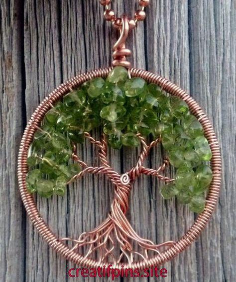 Copper and Peridot Tree of Life Pendant   Copper and Peridot Tree of Life Pendant