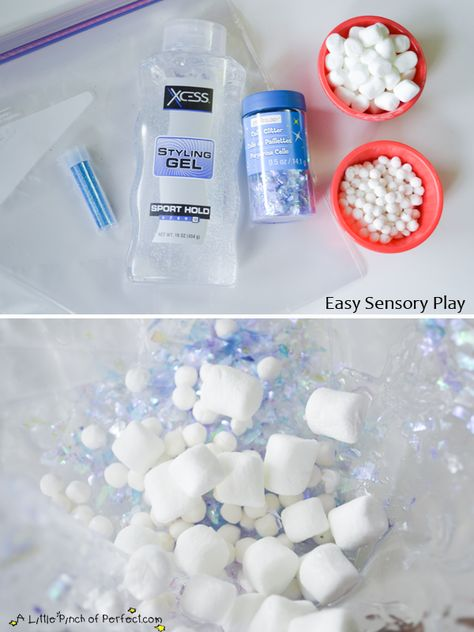 No Mess Sensory Play: Winter in a Bag - - Putting sensory ingredients in a bag is an easy way for kids (and parents) to enjoy mess free senso - Winter Activities For Toddlers, Winter Crafts For Kids, Winter Fun, Baby Sensory Play, Sensory Activities, Infant Activities, Baby Sensory Bags, January Crafts, Sensory Bottles