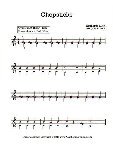 Chopsticks Free Sheet Music For Piano Or Keyboard This Easy