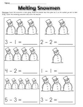 Subtraction Worksheets Kindergarten Winter Themed Kindergarten
