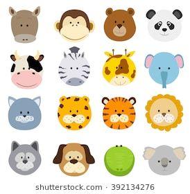 Set Of Cartoon Animals Faces Cartoon Jungle Animals Baby Jungle Animals Animal Faces