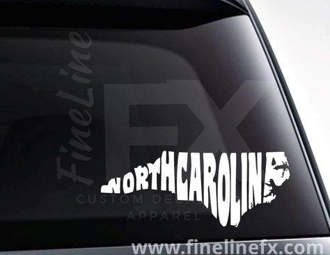 North Carolina State Word Art Vinyl Decal Sticker - 7.4 W x 3 H / Yellow