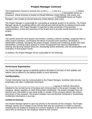 Download Free Template Project Management Contract