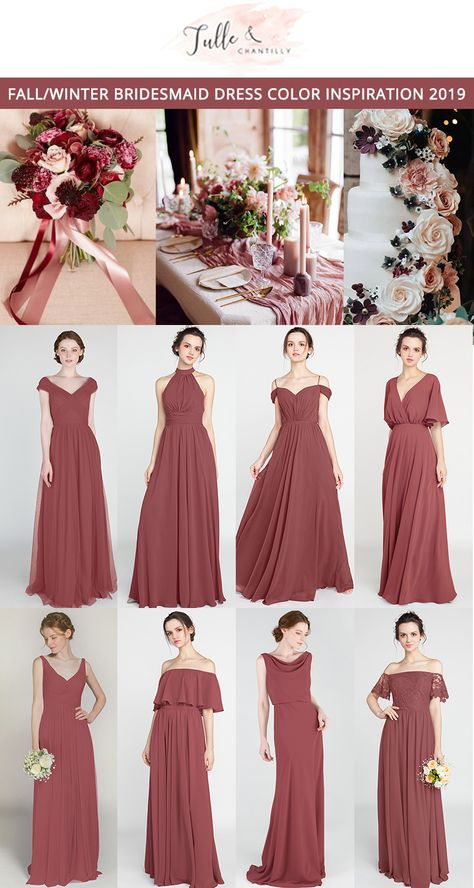 canyon rose wedding color ideas with bridesmaid dresses 2019  #wedding #weddinginspiration #bridesmaids #bridesmaiddress #bridalparty #maidofhonor #weddingideas #weddingcolors #tulleandchantilly