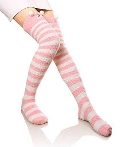 Girls High Waisted Leggings With Kitty Pattern Christmas Warm Stocking Pants