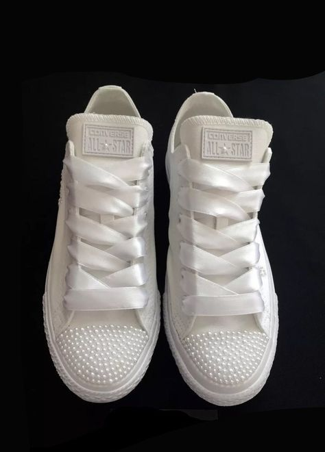6bf9539689a5 Womens Converse All Star Mono White Pearls Sneakers Shoes wedding Bride -  Glitter Shoe Co