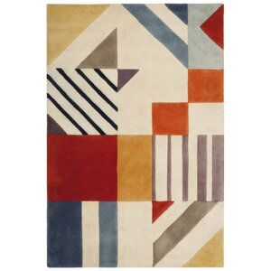 Elin Hand Tufted Wool Multicolor Area Rug Allmodern Art Deco Rugs Area Rugs Area Rug Collections