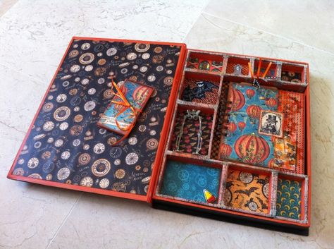 Inside of Aideen Fallon's altered Steampunk Spells box and mini #graphic45 #alteredart #mixedmedia