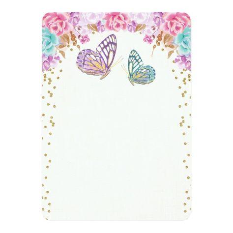 Butterfly birthday invitation, pink purple gold invitation | Zazzle.com
