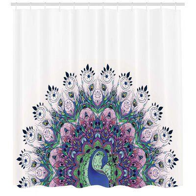 East Urban Home Peacock Shower Curtain Set Hooks Peacock