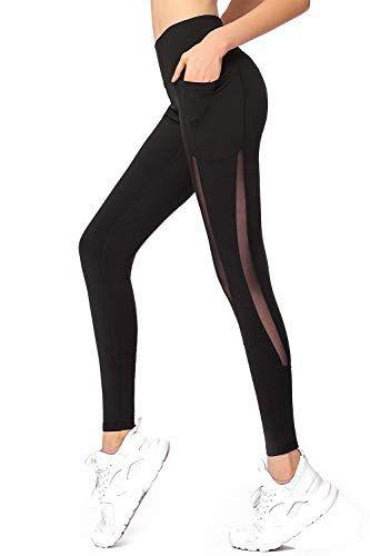 Womens High Waist Mesh Leggings Gym Yoga Pants Sports Fitness Trousers w//Pockets