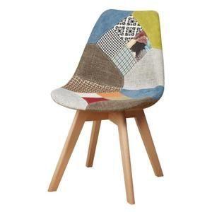 MARTINS Chaise en tissu patchwork jaune + pieds en bois