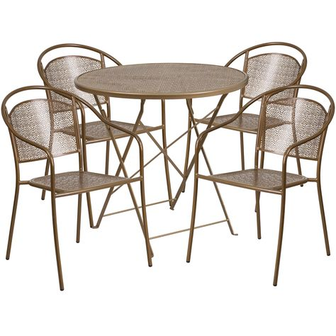 Round Gold Steel Folding Patio Table