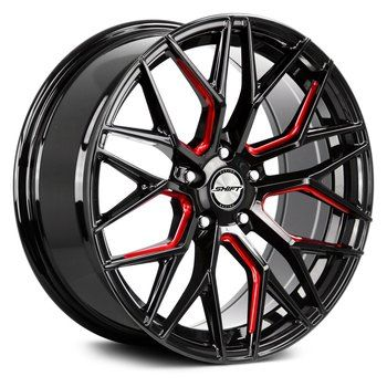 Shift Spring H33 Wheel 20x8 5 5x4 5 5x114 3 Gloss Black Red Milled 35mm Free Lug Nuts Black And Red Wheel Rims Rims For Cars