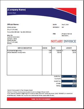 Notary Invoice Notary Signing Agent