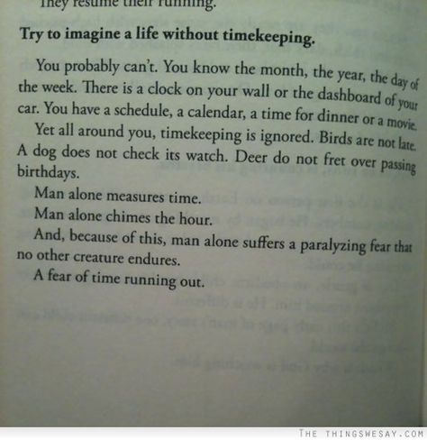 Try to imagine a life without timekeeping - what is this from?!