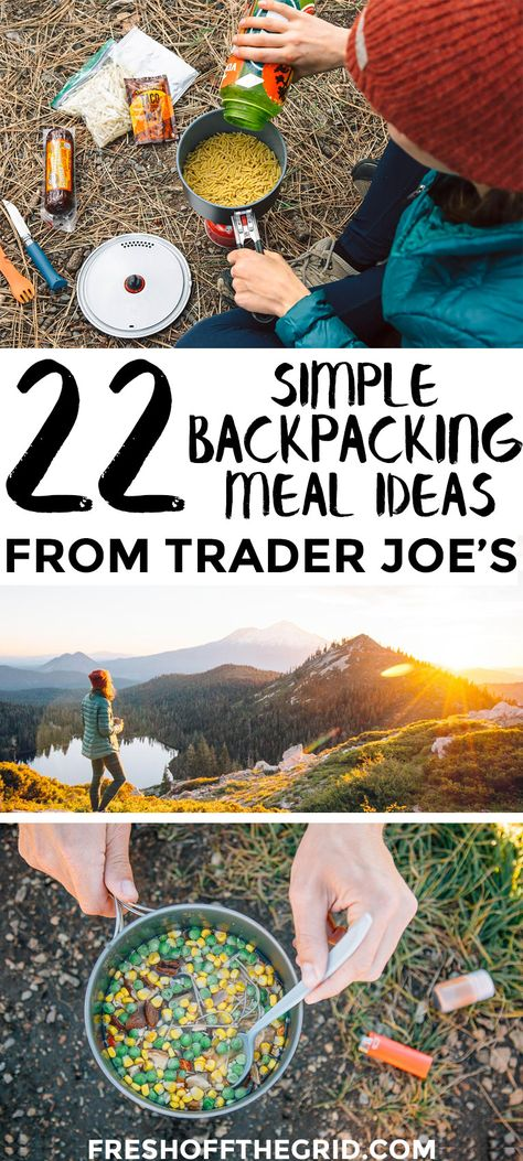 22 Simple Backpacking Meal Ideas from Trader Joe's Trader Joe's has some of the best backpacking food! We show you how to mix and match ingredients to create 22 different easy backpacking meal ideas. Best Backpacking Food, Hiking Food, Camping And Hiking, Camping Meals, Tent Camping, Camping Hacks, Outdoor Camping, Camping Stuff, Camping Cabins