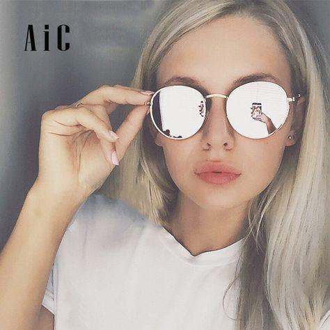 Pas cher AiC 2018 lunettes de Soleil lunettes de soleil femmes lunettes de  Soleil Rondes Argent Or Cadre Sunnies Marque De Luxe Designer Vintage Style  ... 1f9985b6d210