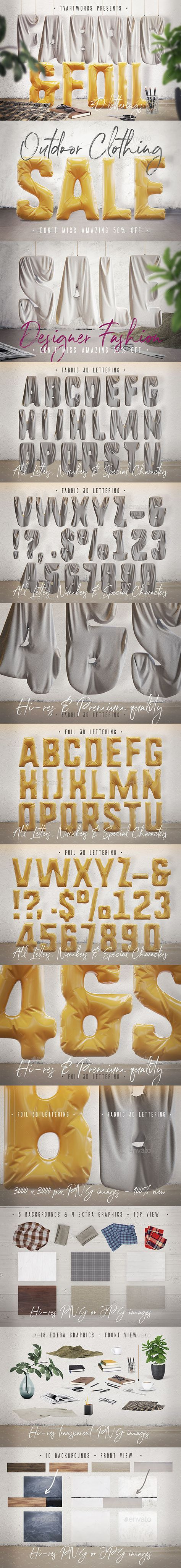 3D Graphics & Renders - Foil & Fabric Lettering Duo