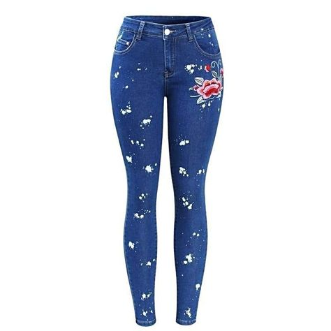 7b9ba96f7f6 Women Plus Size Floral Dirty Skinny Jean With Embroidery Flower in ...