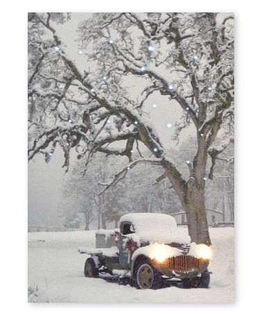 This Snow Covered Truck Under Tree Light Up Wall Art Is Perfect Zulilyfinds Wall Art Tree Lighting Snow