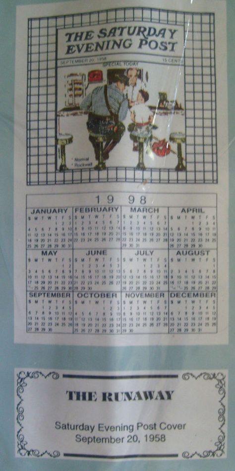 Norman Rockwell The Runaway 1998 Cloth Calendar Cotton Saturday