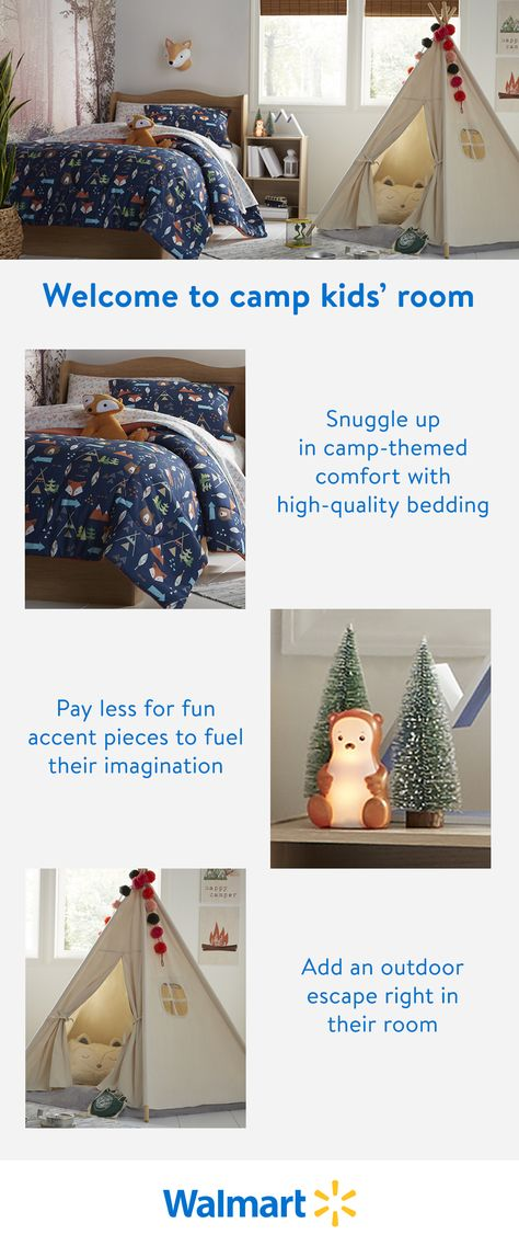 Save on timeless furniture and decor designed for active imaginations, only at Walmart. Find fun-themed furnishings at a price you want to pay. So everyone can be a happy camper.