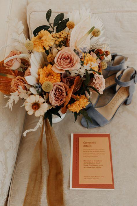 Design-Forward DIY Kansas City Wedding at El Torreon Warm summer color inspired wedding stationery Space Wedding, Our Wedding, Dream Wedding, Wedding Cards, Wedding Ceremony, Rustic Wedding, Destination Wedding, Floral Wedding, Wedding Colors