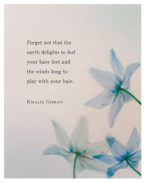 Khalil Gibran poetry art print with blue by Riverwaystudios